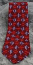 GEOFFREY BEENE MEN'S NECKTIE 100% SILK W/RED & BLUE GEOMETRIC DESIGN - $7.99