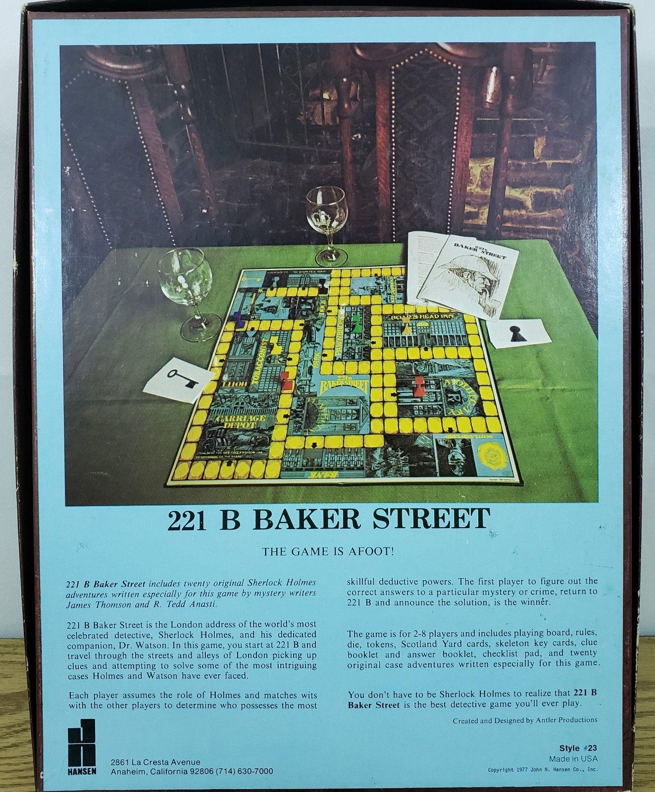 Hansen 221B Baker Street Sherlock Holmes Board Game Mystery 6