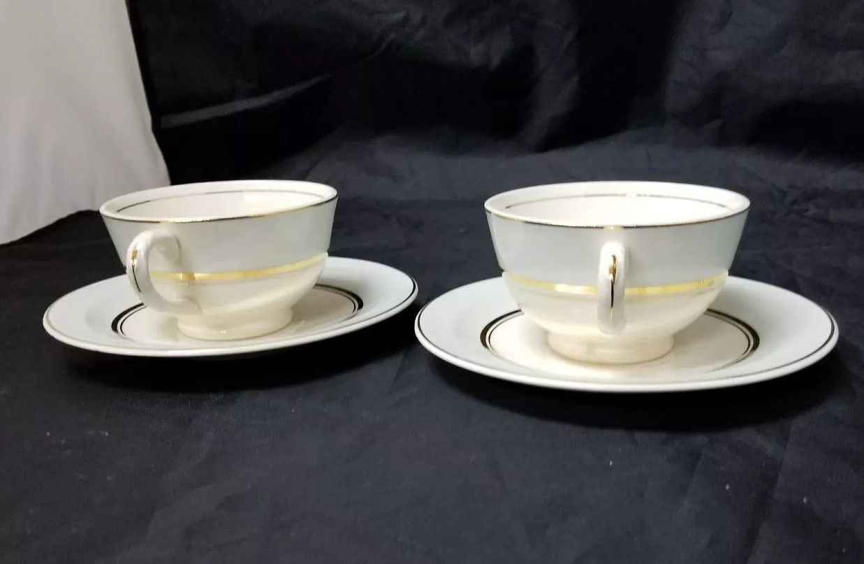 The French Saxon China Co Tea Cup & Saucer Set of 2, 22kt Gold, Pottery Made USA image 11