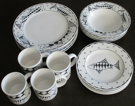 Sakura Port of Call Oceana Fish Dinner 4 Piece Placesetting for 4 total ... - $133.54
