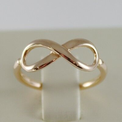 SOLID 18K ROSE GOLD BAND INFINITE RING LUMINOUS ENDLESS INFINITY MADE IN ITALY