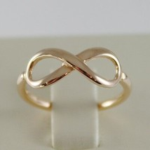SOLID 18K ROSE GOLD BAND INFINITE RING LUMINOUS ENDLESS INFINITY MADE IN ITALY image 1