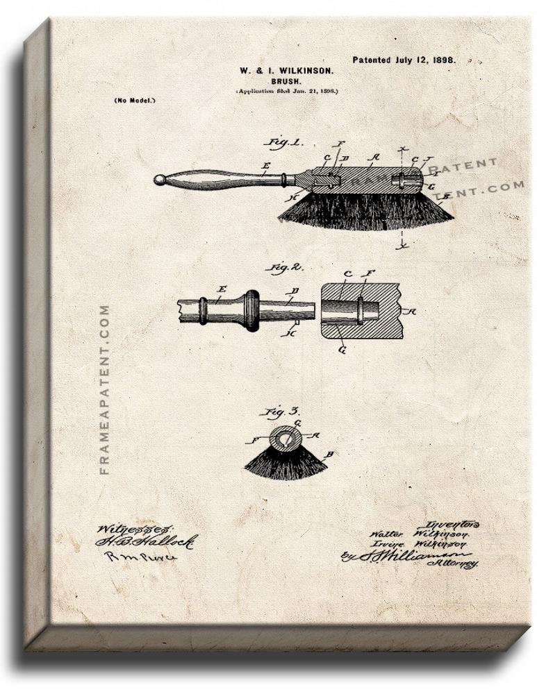 Primary image for Brush Patent Print Old Look on Canvas
