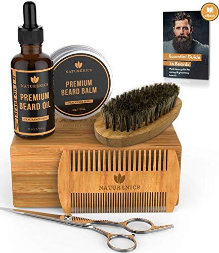 Naturenics Premium Beard Grooming Kit for Mens Care - 100% Organic Unscented Bea