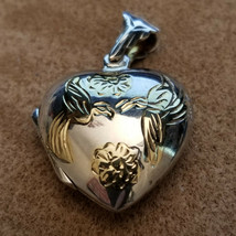925 Sterling Silver Heart Locket With Gold Washed Love Birds - $19.80