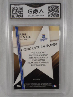 2015 Bowman's Best #B15-ASR Ashe Russell Auto Rookie GMA Graded Gem 10