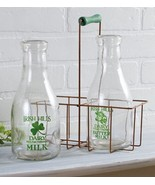 2 Milk Bottles w/ Metal Carrier Irish Hills Clover Farm Dairy New Vintag... - $25.94
