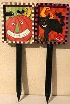 "Halloween Whimsy Yard Garden Stakes ~ Pumpkin or Black Cat Theme 30"" Tal... - $9.94"