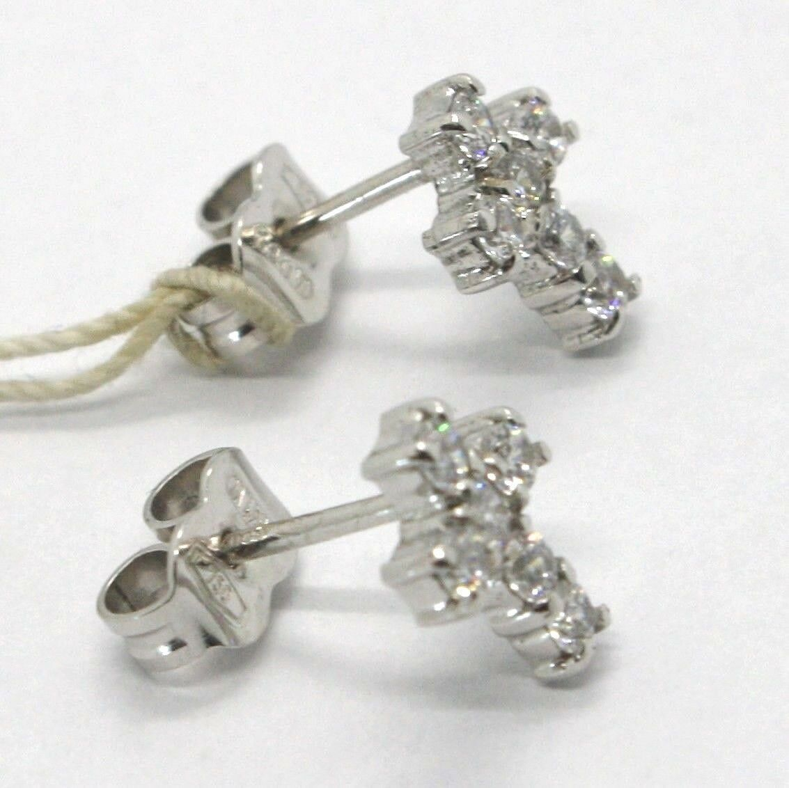 White Gold Earrings 18K, cross with Zircon Cubic , Made in Italy, Gold 750