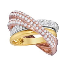 14kt Tri-Tone Gold Womens Round Diamond Fashion Crossover Band Ring 1-1/... - £1,725.70 GBP
