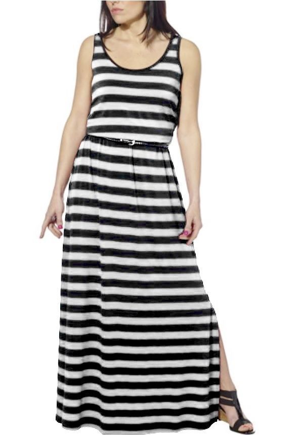 Primary image for FEVER Women's Maxi Sleeveless Belted Long Dress   Silver Black Striped   Sz S M