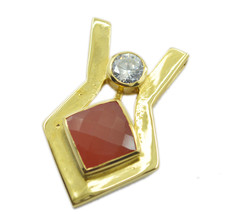 grand Red Onyx Gold Plated Red Pendent Glass supplies US - $15.83