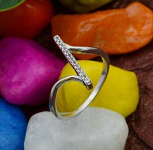 Stackable 925 Silver Round Cut White Topaz Stone Bypass Twisted Bar Wome... - $12.92