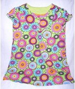 Hanna Andersson Girls Dress 110 Size 5 Green Flower Multi Color Buttons - $15.29