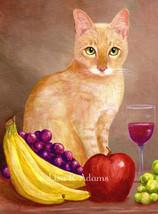 Cat Fruit Sitll Life 5x7 Giclee Print Creationarts - $16.50+