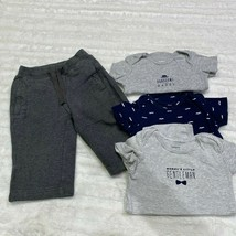 Lot of 4 Boys Bodysuits and Sweat Pants Size 12 Months Mustache Blue Gray - $11.39
