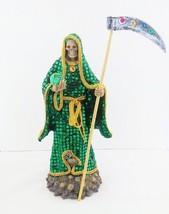 14 Inch Statue of La Santa Muerte Verde Holy Death Grim Reaper Green Imagen - $59.00