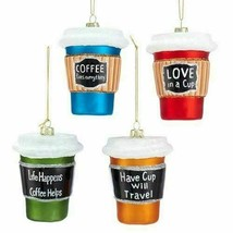 Kurt Adler Coffee Cup 3 1/2-Inch Glass Ornaments Set of 4 T2583 - $38.60