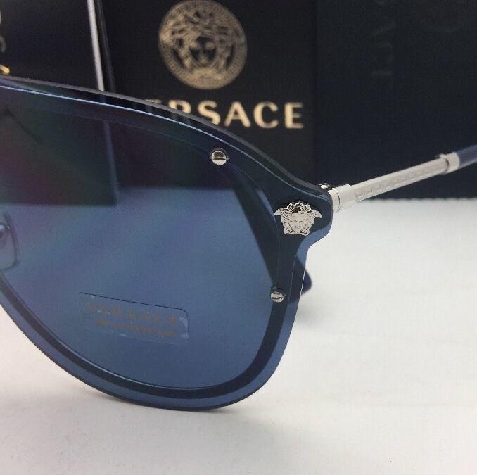 b300c7f5af New VERSACE Sunglasses VE 2180 1000 80 125 Silver   Blue Shield Frames w