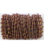 Natural Indian Garnet 3-4 MM Rosary Beaded Gold Plated Chain For Jewelry - $15.32+