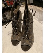 BCBGeneration ZUTON 9 Med Camel Snake Leather Lace Up Open Toe HEEL BOOT... - $33.66