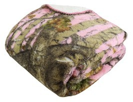 """PINK CAMO WOODS Camouflage Sherpa Throw Ultra Plush Soft Blanket 50"""" x 70"""" - €34,43 EUR"""