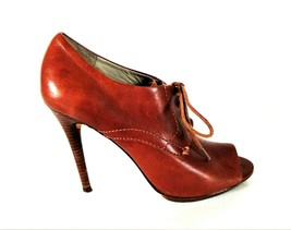 Michael Kors Brown Lace Up Bootie Peep Toe Heels Shoes Women's 7 1/2 M (SW6) - $47.59