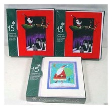 3 Packs x 15 each = 45 SANTA CHRISTMAS CARDS in Sealed Box with envelopes - $10.88