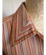 ORVIS Shirt 10 Womens Striped Cotton Blend Carefree Button Front Orange ... - $15.79