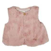 Gymboree Girls Vest 18/24M Woodland Weekend Pink Faux Fur Gold Button Furry  - $9.99
