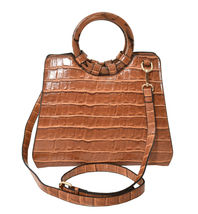 Women's Embossed Faux Crocodile Pattern Handbag Vegan Textured Leather Purse image 6