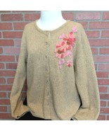J Jill Womens Cardigan Sweater Size M Embellished Floral Design Wool Ble... - $16.82