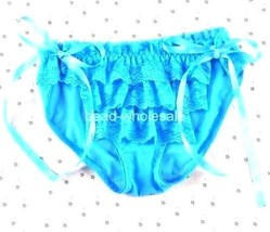 Buy2) Women's Sexy Lace Frills Panties BriefsLingerie Gr,Blue Ribbon Sid... - $3.47