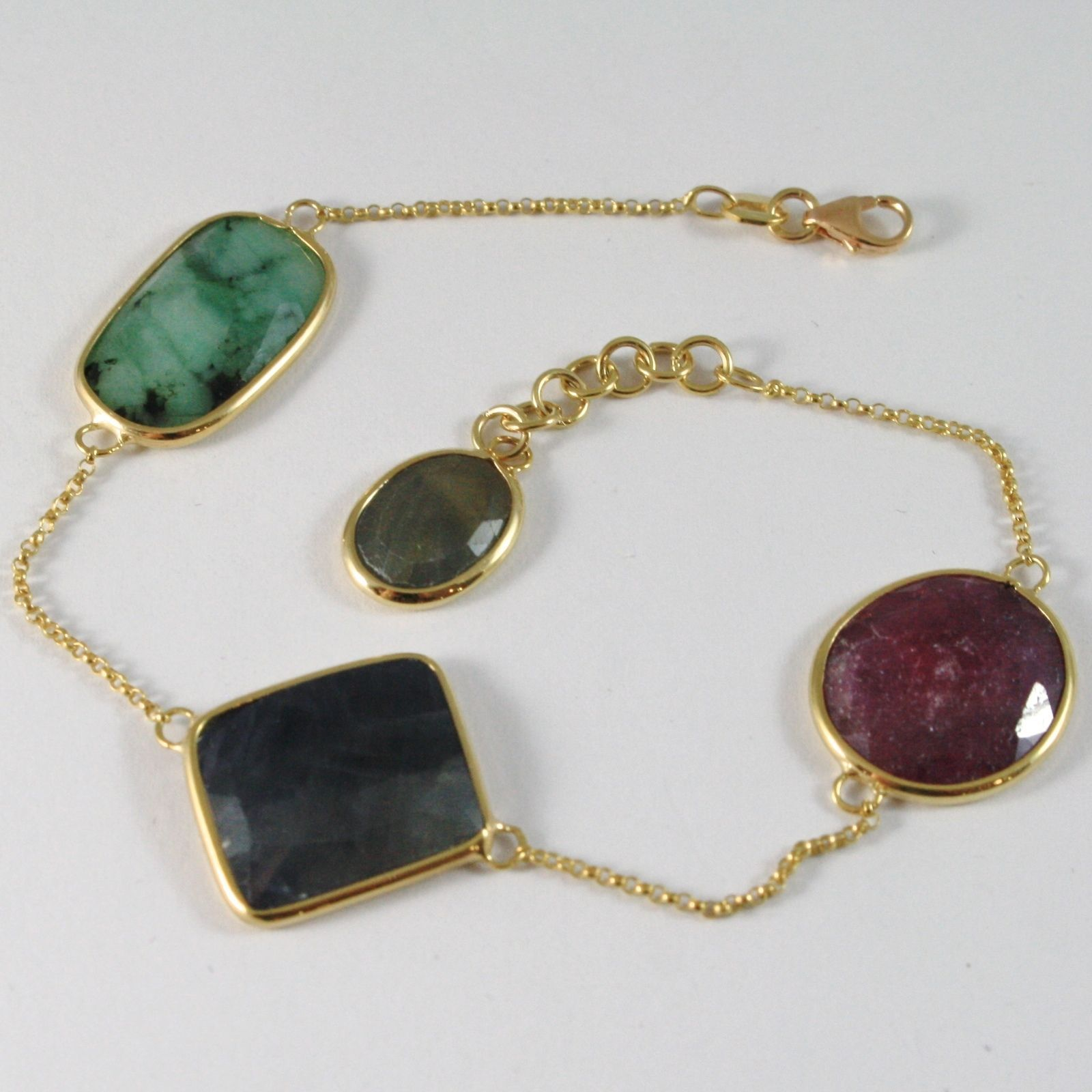 9K YELLOW GOLD BRACELET WITH FACETED RUBY, BLUE SAPPHIRE AND GREEN EMERALD