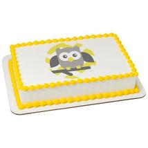 Baby Owl-Yellow Chevron Edible Cake Topper Image - $9.99+