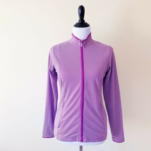 Adidas Womens Climalite Zip Up Jacket Purple White Striped Small - $14.99