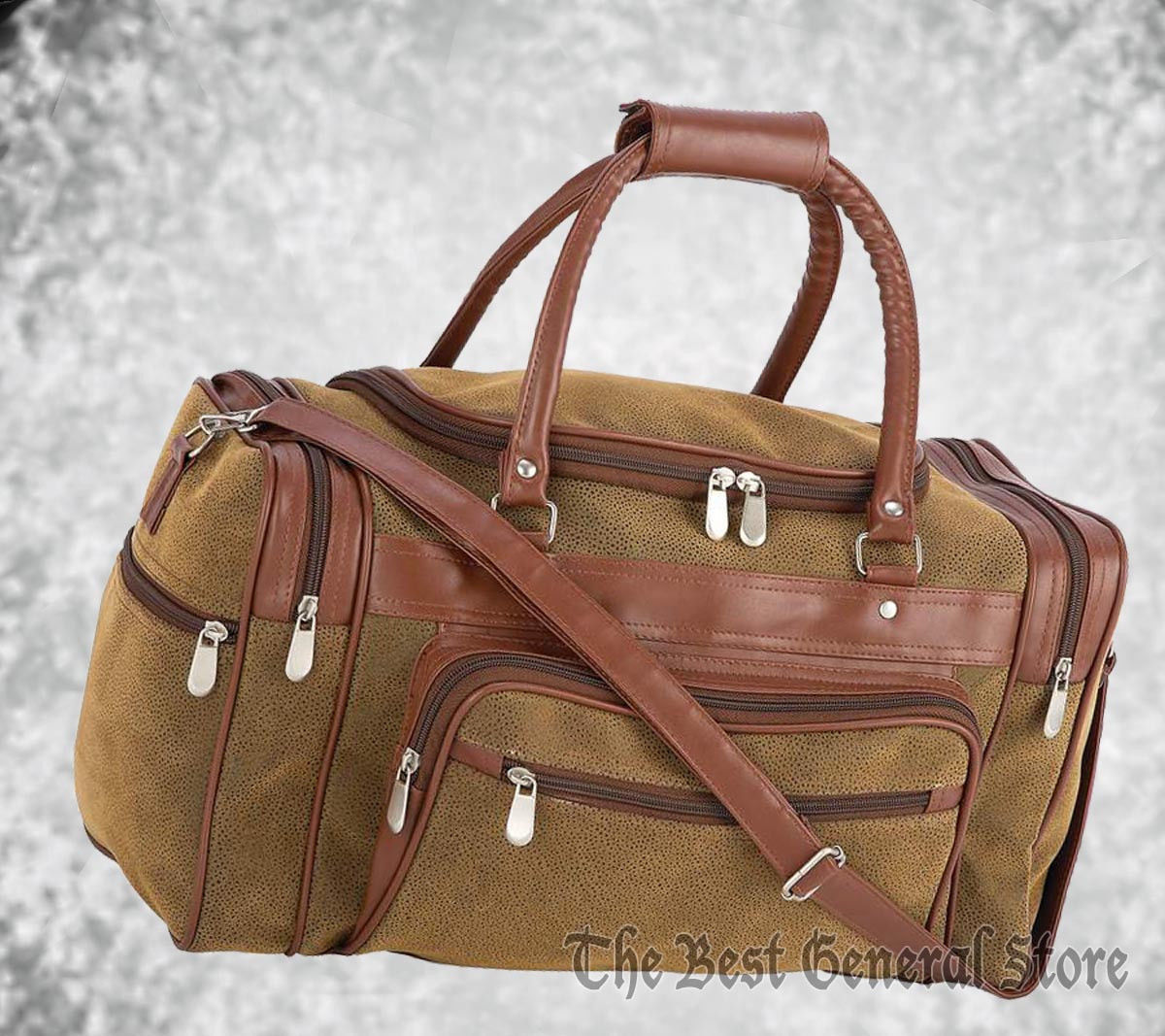 "17"" Brown Faux Leather Tote Bag Carry On Luggage Duffle Gym Sport Overnight"