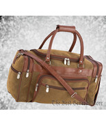 "17"" Brown Faux Leather Tote Bag Carry On Luggage Duffle Gym Sport Overnight - $29.99"