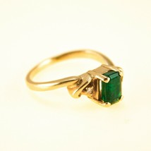 Emerald and Diamond Ring 9k Gold UK size M BHS - $552.38