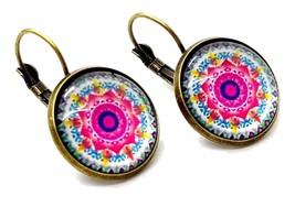 Pink Mandala Earrings Flower Hoop Bronze Moroccan Bohemian Boxed - $19.97