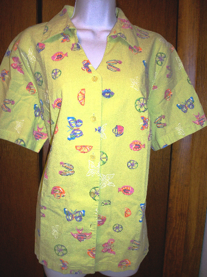 Primary image for  KORET  BLOUSE  sz  LIME GREEN w BLUE BUTTERLIES +RED FISH  VACATIOn CRUISE