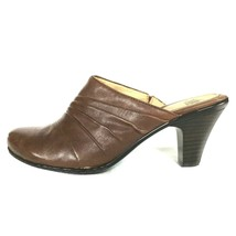 Sofft Womens Shoes size 7.5 7 1/2 M Brown Leather Slip On Clogs Heels Exc Condtn - $44.55