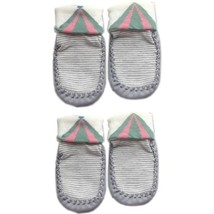 Stripes Infant Anti Skid Slip Baby Newborn Shocks Toddler Shoes 2 Pack GRAY