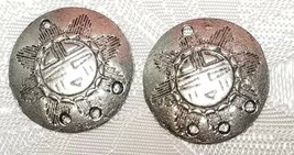 SOUTHWESTERN PATTERN SHIELD ONE TO THREE HOLE FINE PEWTER EARRING PART 18x18x3mm image 2