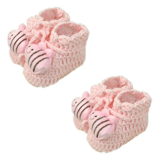 PINK Bee Woolen Yarn Baby Newborn Shocks Infant Toddler Shoes 2 Pack 0-6M