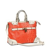 """""""Audrey"""" Two-Tone Salmon & White Leather Satchel / Crossbody by M.C. Han... - $59.90"""