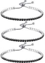 AOPRIE 3pcs Womens Adjustable Tennis Charm Chain Bracelet Cubic Zirconia Plated - $25.38