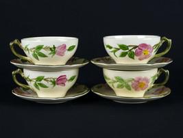 Franciscan Desert Rose Cups & Saucers 4 Sets, Vintage c.1950 Gladding McBean USA - $29.70