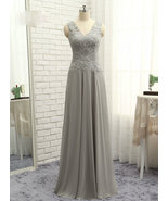 Sexy V-Neck Lace Mother Of the Bride Dress Gray Chiffon Women Evening Go... - $135.99