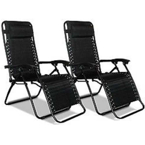 Gravity Chairs Set 2 Black Chaise Lounge Lawn Furniture Pair Adjustable Loungers
